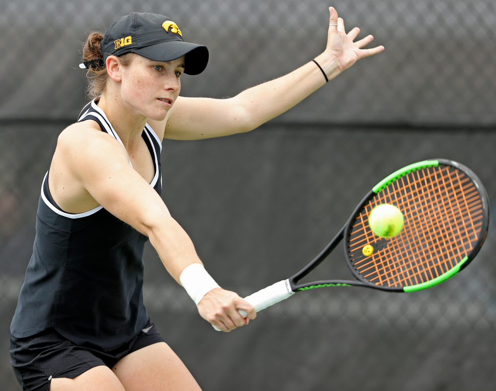 Iowa's Elise van Heuvelen Treadwell during a match against Rutgers at the Hawkeye Tennis and Recreation Complex in Iowa City on Friday, Apr. 5, 2019. (Stephen Mally/hawkeyesports.com)