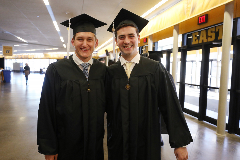 Iowa Football Managers Hunter Storm and Brandon Thielen during the Fall Commencement Ceremony  Saturday, December 15, 2018 at Carver-Hawkeye Arena. (Brian Ray/hawkeyesports.com)