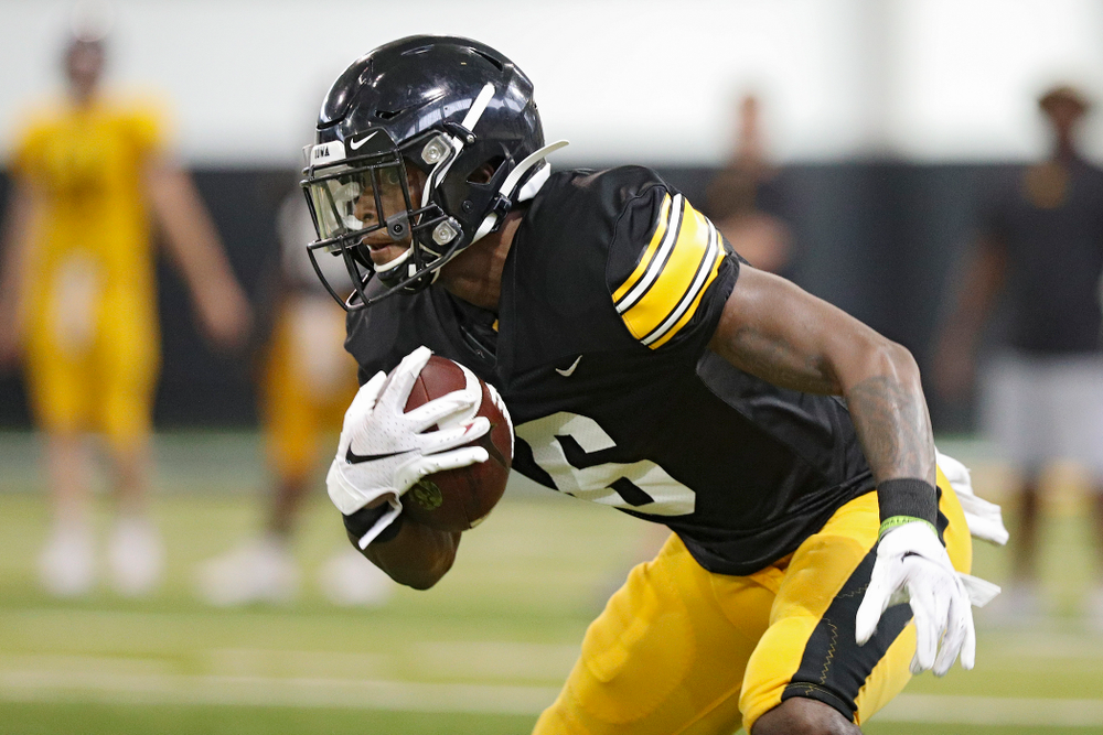 Iowa Hawkeyes wide receiver Ihmir Smith-Marsette (6) looks down field after pulling in a pass during Fall Camp Practice No. 6 at the Hansen Football Performance Center in Iowa City on Thursday, Aug 8, 2019. (Stephen Mally/hawkeyesports.com)