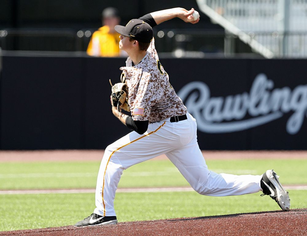 Iowa Hawkeyes pitcher Grant Judkins (7) delivers to the plate for a strikeout during the second inning of their game against UC Irvine at Duane Banks Field in Iowa City on Sunday, May. 5, 2019. (Stephen Mally/hawkeyesports.com)