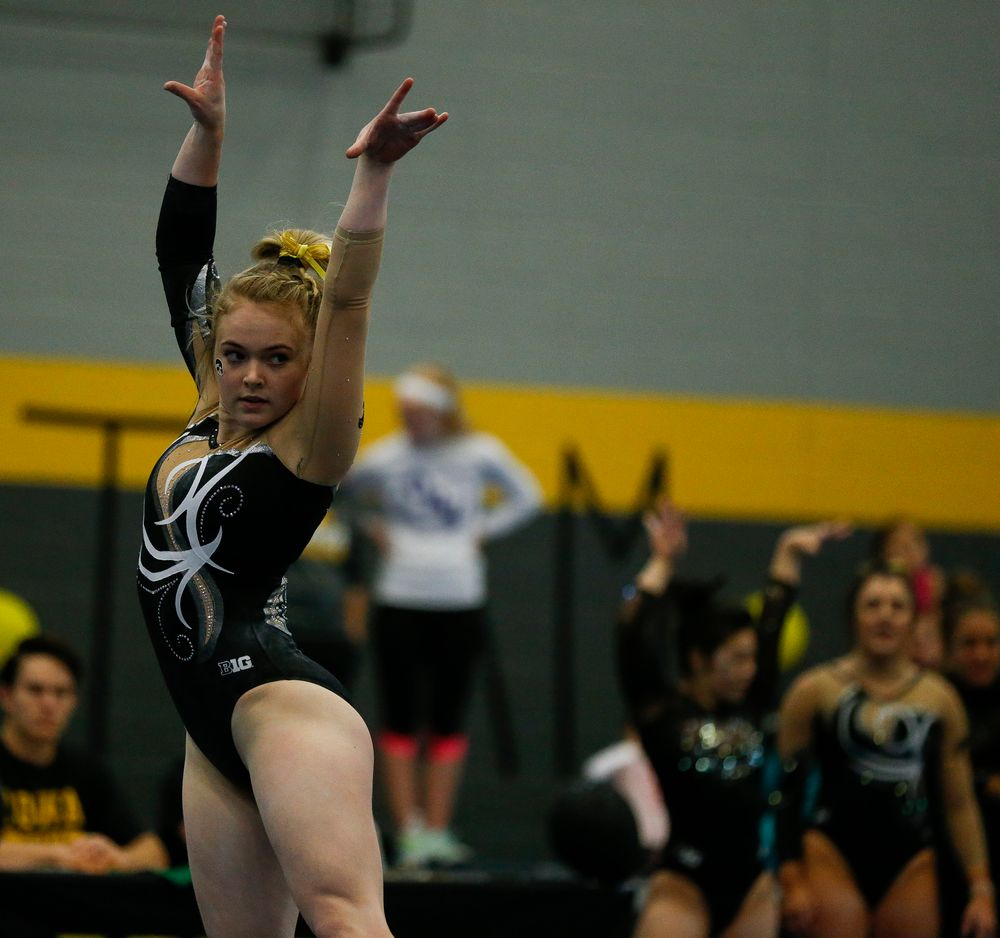 Charlotte Sullivan competes in the floor exercise during the Black and Gold Intrasquad meet at the Field House on 12/2/17. (Tork Mason/hawkeyesports.com)