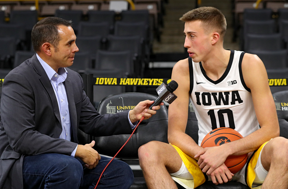 Iowa Hawkeyes guard Joe Wieskamp (10) answers questions during Iowa Men's Basketball Media Day at Carver-Hawkeye Arena in Iowa City on Wednesday, Oct 9, 2019. (Stephen Mally/hawkeyesports.com)