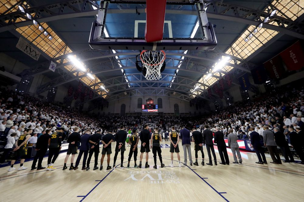 The Iowa Hawkeyes against Penn State Saturday, January 4, 2020 at the Palestra in Philadelphia. (Brian Ray/hawkeyesports.com)