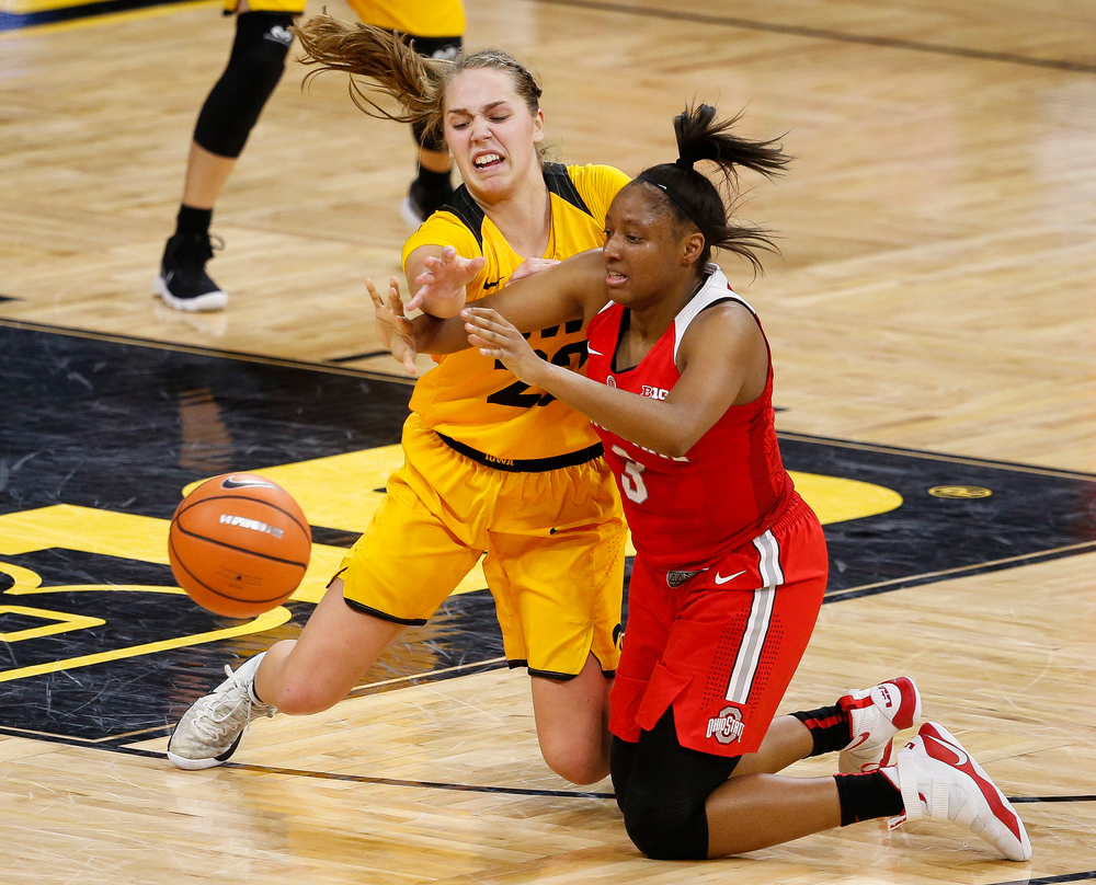 Iowa Hawkeyes guard Kathleen Doyle (22) defends Ohio State Buckeyes guard Kelsey Mitchell (3) during a game at Carver-Hawkeye Arena on January 25, 2018. (Tork Mason/hawkeyesports.com)