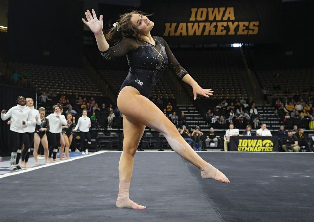 Iowa's Erin Castle competes on the floor during their meet at Carver-Hawkeye Arena in Iowa City on Sunday, March 8, 2020. (Stephen Mally/hawkeyesports.com)
