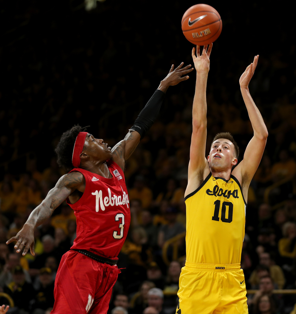 Iowa Hawkeyes guard Joe Wieskamp (10) against the Nebraska Cornhuskers Saturday, February 8, 2020 at Carver-Hawkeye Arena. (Brian Ray/hawkeyesports.com)