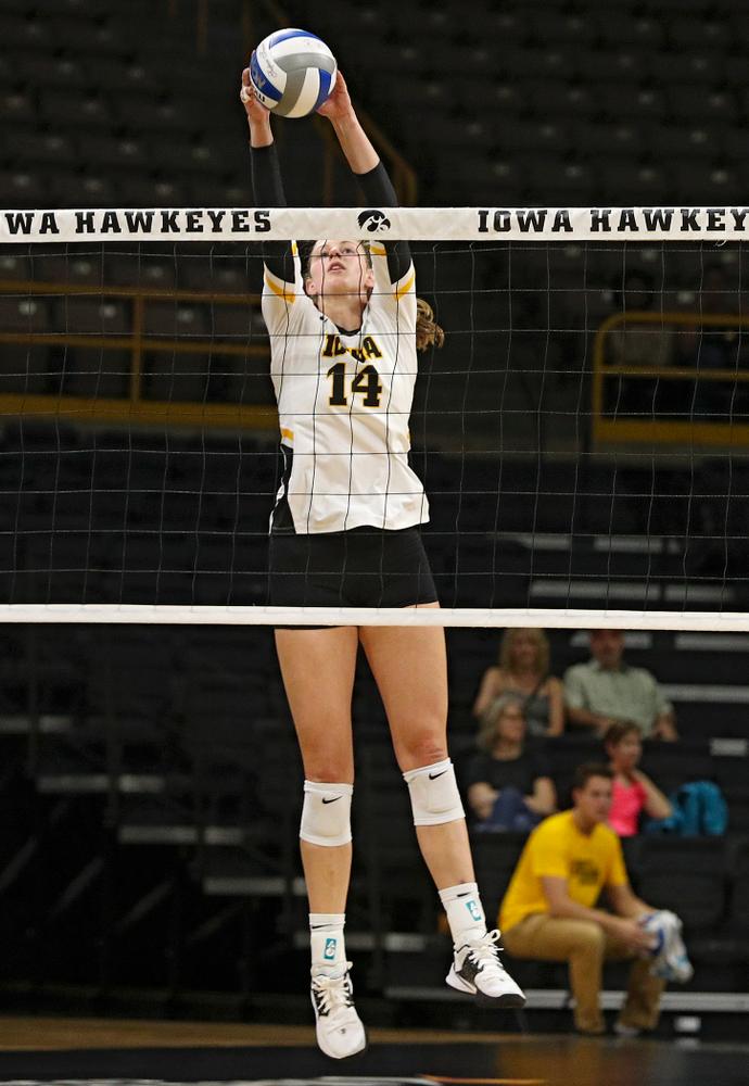 Iowa's Emma Grunkemeyer (14) during the first set of the Black and Gold scrimmage at Carver-Hawkeye Arena in Iowa City on Saturday, Aug 24, 2019. (Stephen Mally/hawkeyesports.com)