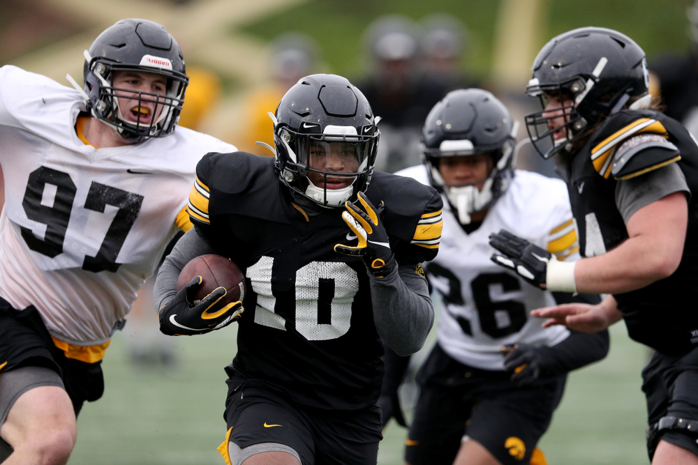 Iowa Hawkeyes running back Mekhi Sargent (10) during practice Monday, December 23, 2019 at Mesa College in San Diego. (Brian Ray/hawkeyesports.com)
