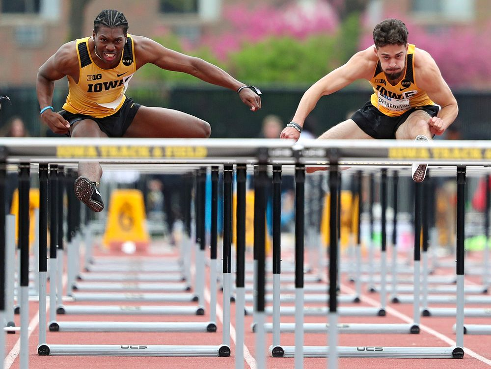 Iowa's Anthony Williams (from left) and Josh Braverman run the men's 110 meter hurdles event on the third day of the Big Ten Outdoor Track and Field Championships at Francis X. Cretzmeyer Track in Iowa City on Sunday, May. 12, 2019. (Stephen Mally/hawkeyesports.com)