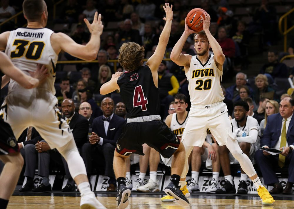 Iowa Hawkeyes forward Riley Till (20) looks to make an entry pass during a game against Guilford College at Carver-Hawkeye Arena on November 4, 2018. (Tork Mason/hawkeyesports.com)