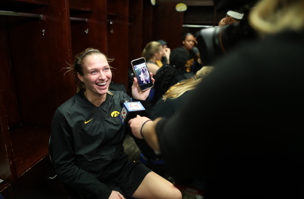 Iowa Hawkeyes guard Makenzie Meyer (3) during practice and media before the regional final of the 2019 NCAA Women's College Basketball Tournament against the Baylor Bears Sunday, March 31, 2019 at Greensboro Coliseum in Greensboro, NC.(Brian Ray/hawkeyesports.com)