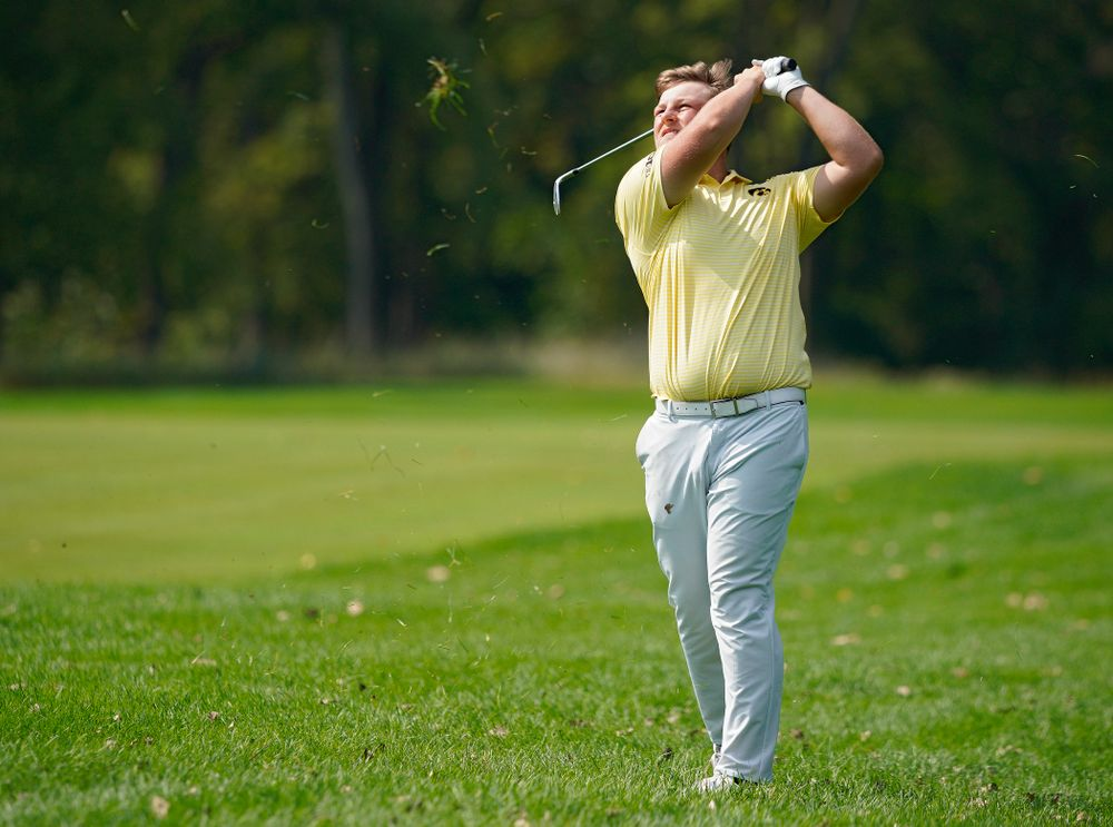 Iowa's Alex Schaake drives a shot during the third day of the Golfweek Conference Challenge at the Cedar Rapids Country Club in Cedar Rapids on Tuesday, Sep 17, 2019. (Stephen Mally/hawkeyesports.com)