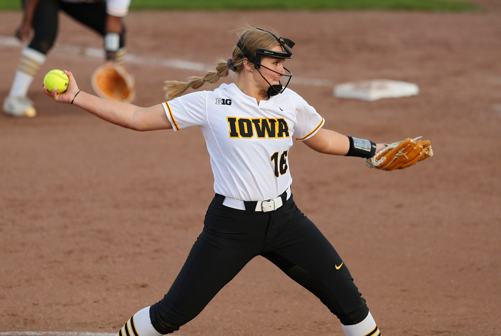 Iowa pitcher Sarah Lehman (16) delivers to the plate for a strikeout during the fifth inning of their game against Ohio State at Pearl Field in Iowa City on Friday, May. 3, 2019. (Stephen Mally/hawkeyesports.com)