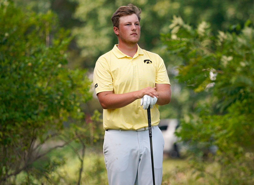 Iowa's Alex Schaake waits to tee off during the third day of the Golfweek Conference Challenge at the Cedar Rapids Country Club in Cedar Rapids on Tuesday, Sep 17, 2019. (Stephen Mally/hawkeyesports.com)