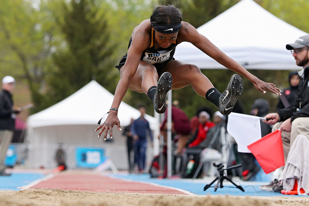 Iowa's Amanda Carty jumps in the women's long jump event on the second day of the Big Ten Outdoor Track and Field Championships at Francis X. Cretzmeyer Track in Iowa City on Saturday, May. 11, 2019. (Stephen Mally/hawkeyesports.com)