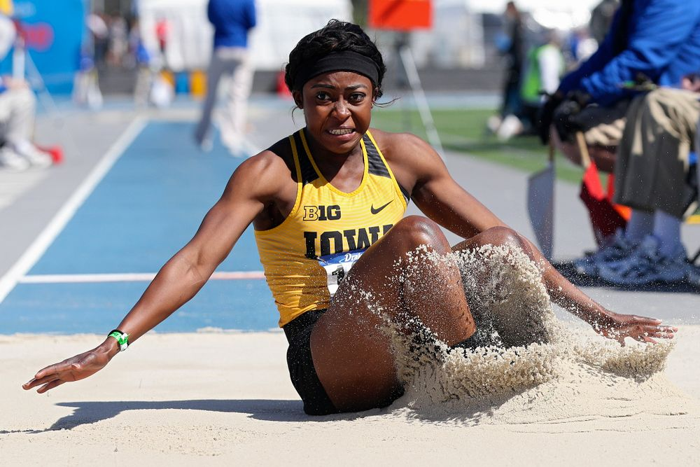 Iowa's Amanda Carty in the women's long jump event during the second day of the Drake Relays at Drake Stadium in Des Moines on Friday, Apr. 26, 2019. (Stephen Mally/hawkeyesports.com)