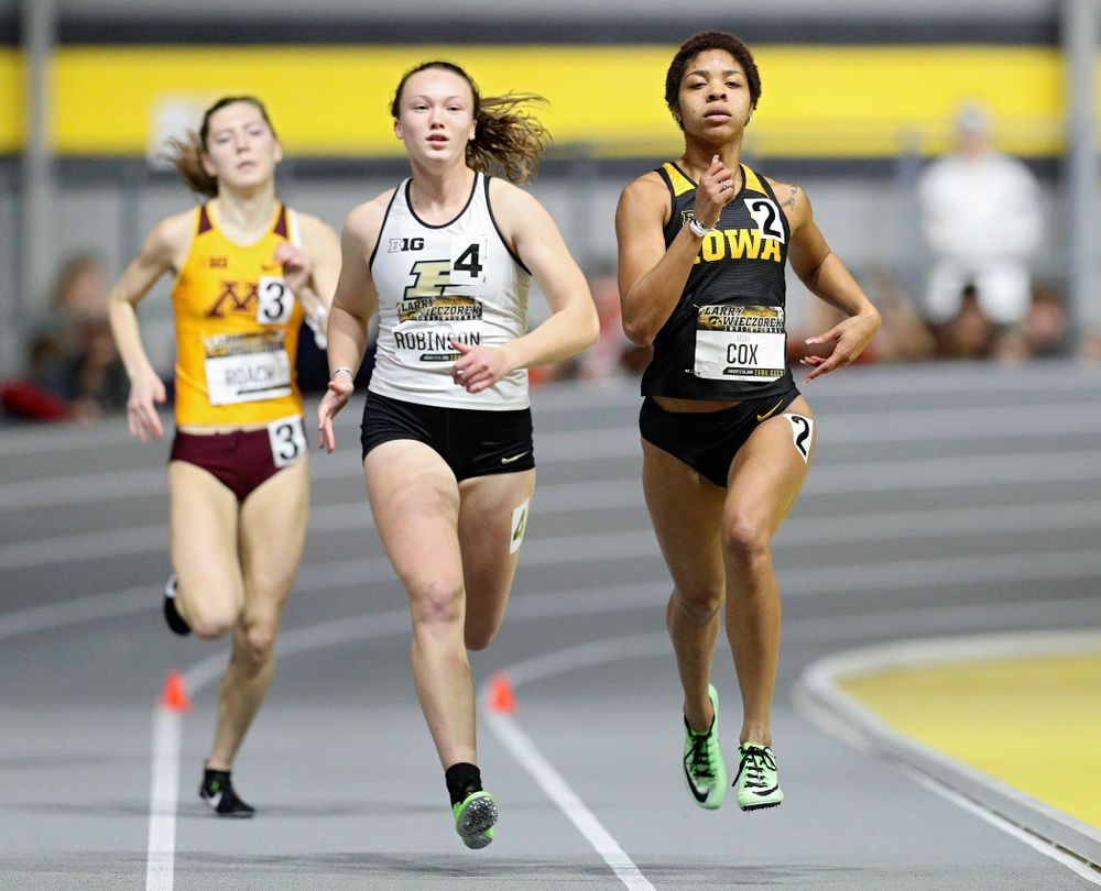 Iowa's Mika Cox runs the women's 600 meter run event during the Larry Wieczorek Invitational at the Recreation Building in Iowa City on Friday, January 17, 2020. (Stephen Mally/hawkeyesports.com)