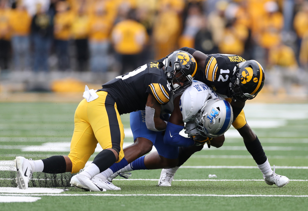 Iowa Hawkeyes defensive back Geno Stone (9) and defensive back D.J. Johnson (12) against Middle Tennessee State Saturday, September 28, 2019 at Kinnick Stadium. (Max Allen/hawkeyesports.com)
