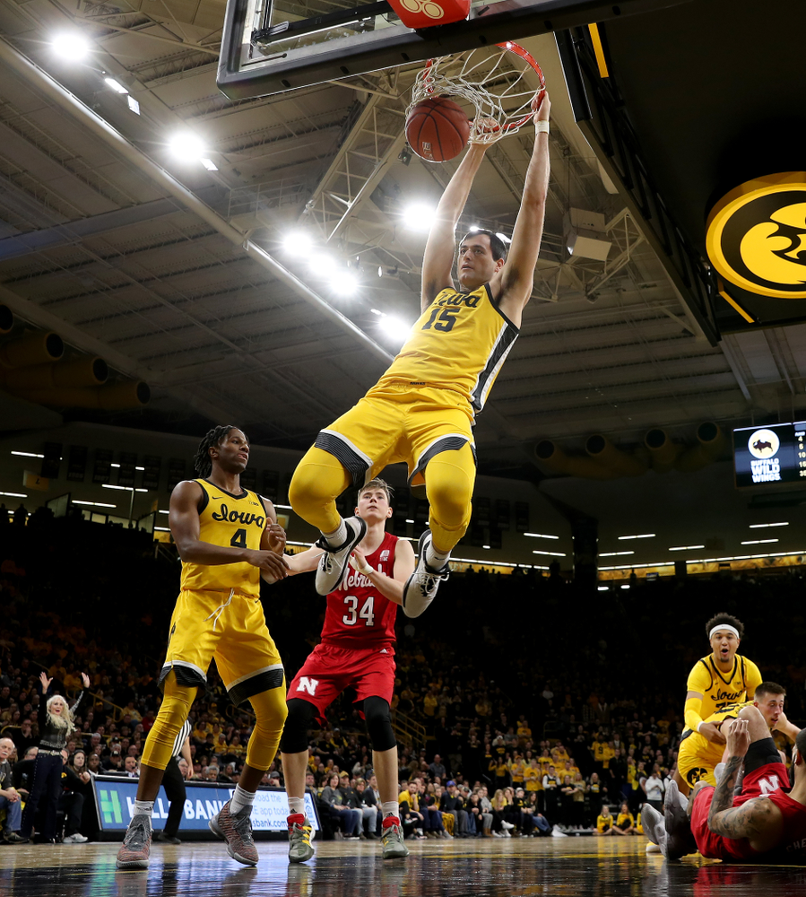 Iowa Hawkeyes forward Ryan Kriener (15) dunks the ball against the Nebraska Cornhuskers Saturday, February 8, 2020 at Carver-Hawkeye Arena. (Brian Ray/hawkeyesports.com)