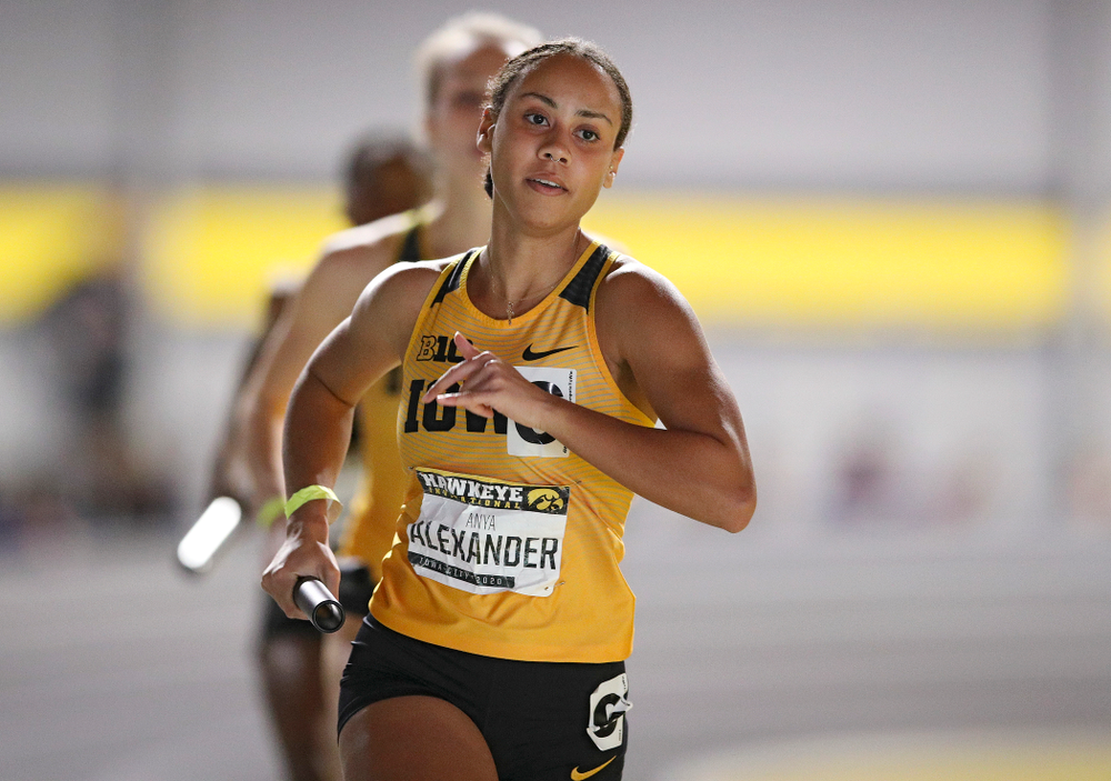 Iowa's Anaya Alexander runs the women's 1600 meter relay event during the Hawkeye Invitational at the Recreation Building in Iowa City on Saturday, January 11, 2020. (Stephen Mally/hawkeyesports.com)