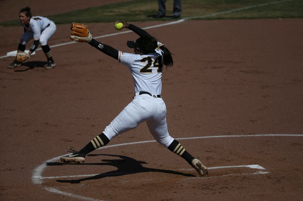 Iowa's Donirae Mayhew (24) at game 3 vs Northwestern on Sunday, March 31, 2019 at Bob Pearl Field. (Lily Smith/hawkeyesports.com)