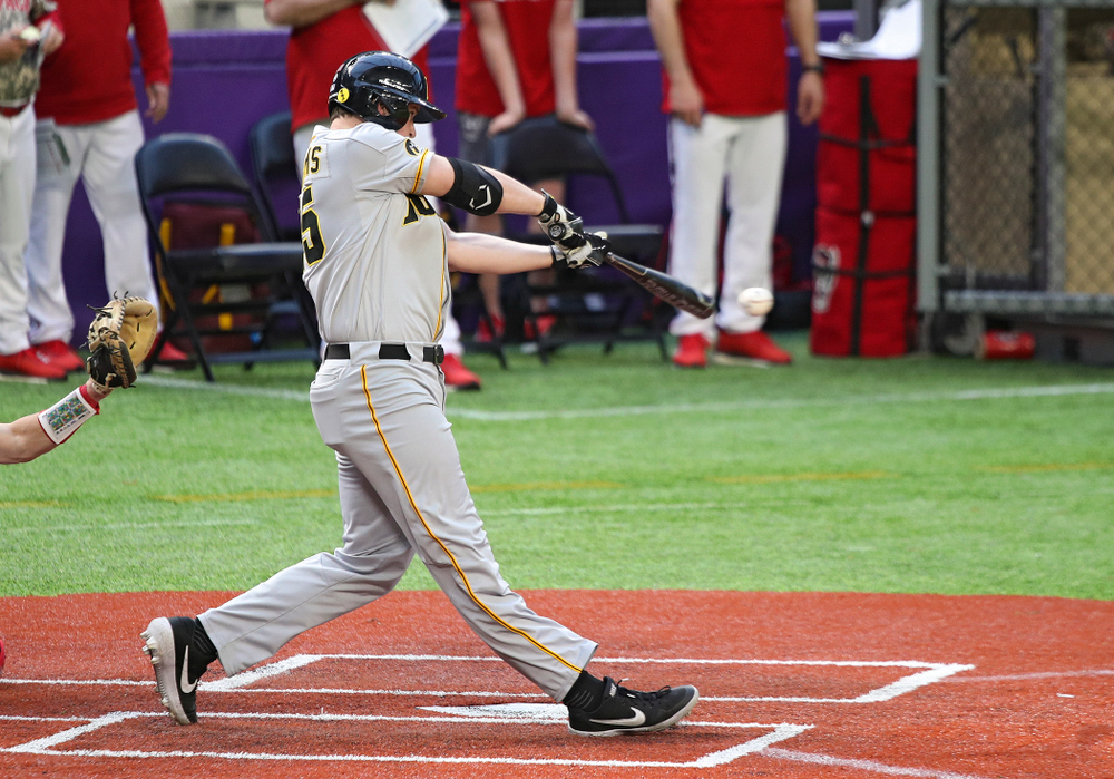 Iowa Hawkeyes first baseman Peyton Williams (45) bats during the eighth inning of their CambriaCollegeClassic game at U.S. Bank Stadium in Minneapolis, Minn. on Friday, February 28, 2020. (Stephen Mally/hawkeyesports.com)