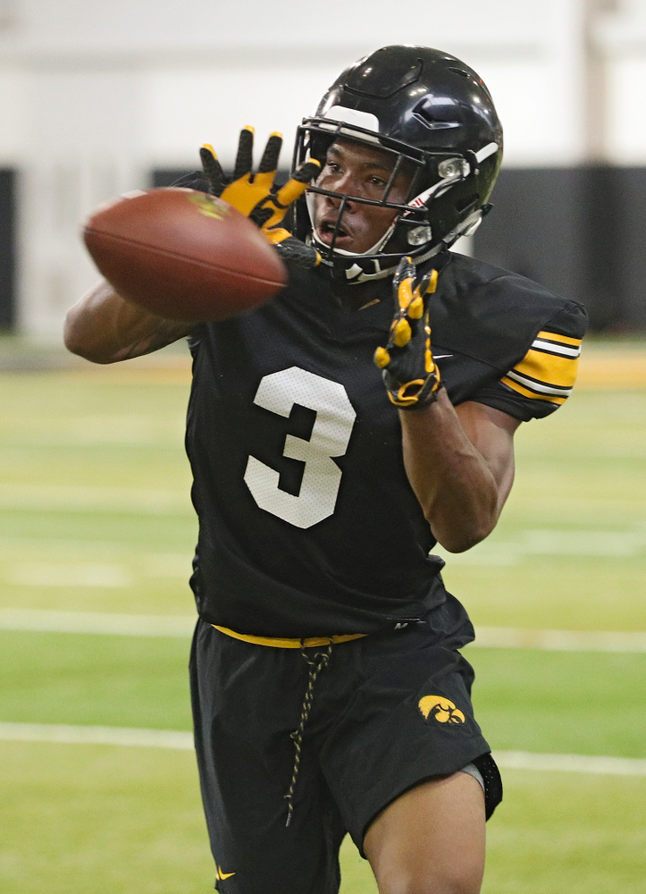 Iowa Hawkeyes wide receiver Tyrone Tracy Jr. (3) pulls in a pass during Fall Camp Practice No. 9 at the Hansen Football Performance Center in Iowa City on Monday, Aug 12, 2019. (Stephen Mally/hawkeyesports.com)