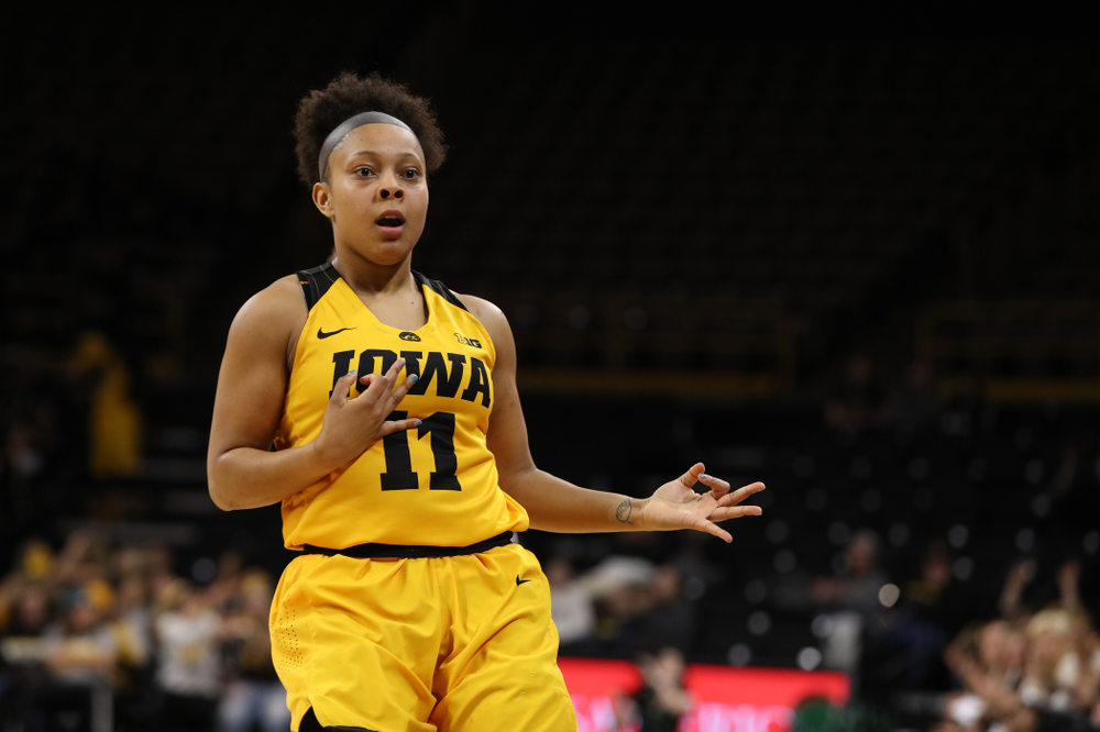 Iowa Hawkeyes guard Tania Davis (11) celebrates a three point basket against the Michigan State Spartans Thursday, February 7, 2019 at Carver-Hawkeye Arena. (Brian Ray/hawkeyesports.com)