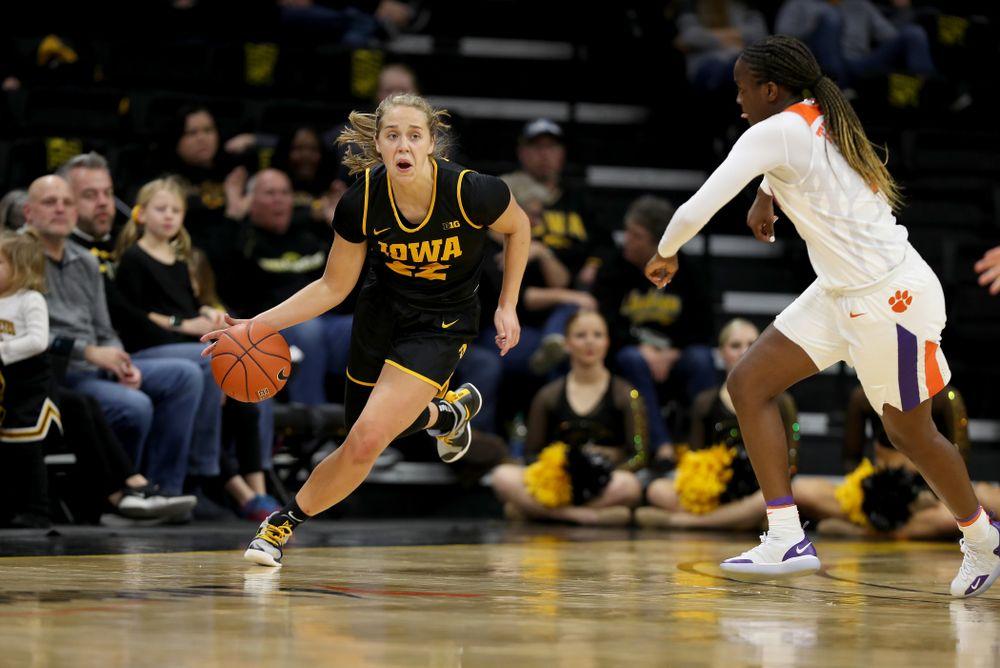 Iowa Hawkeyes guard Kathleen Doyle (22) against Clemson Wednesday, December 4, 2019 at Carver-Hawkeye Arena. (Brian Ray/hawkeyesports.com)