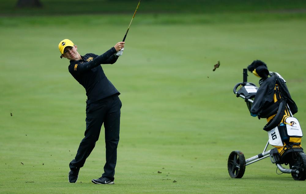 Iowa's Brett Permann hits an approach shot during the final round of the Diane Thomason Invitational at Finkbine Golf Course on September 30, 2018. (Tork Mason/hawkeyesports.com)