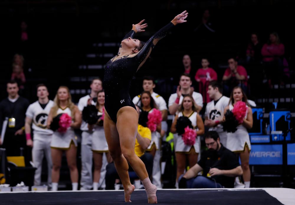 Iowa's Nikki Youd competes on the floor
