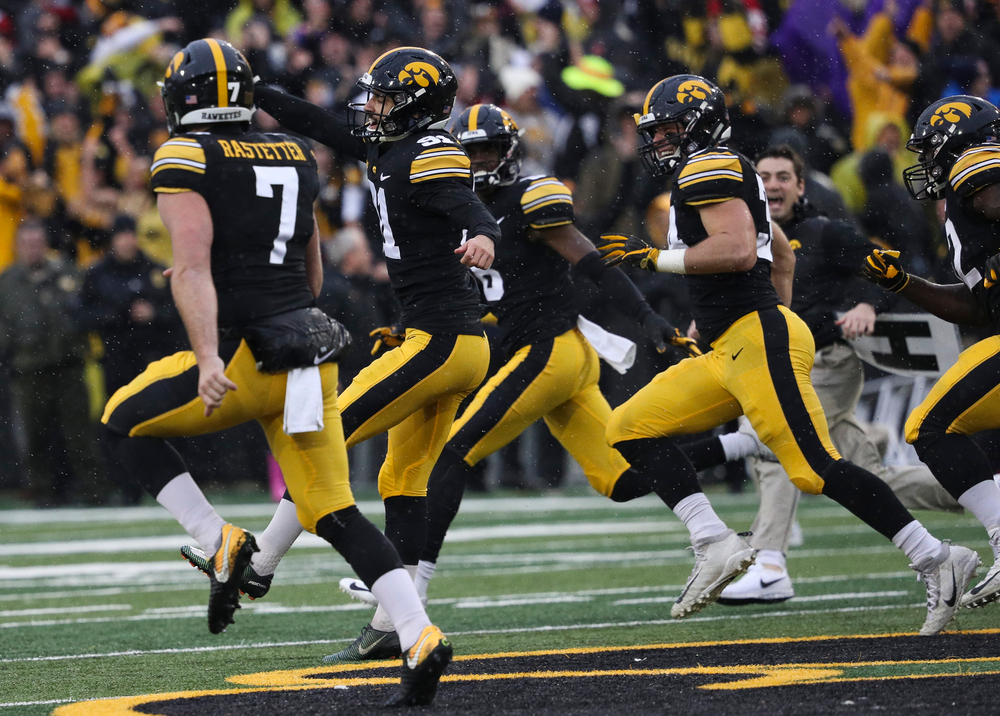 Iowa Hawkeyes placekicker Miguel Recinos (91) celebrates after hitting a 41-yard game-winning field goal as time expired during a game against Nebraska at Kinnick Stadium on November 23, 2018. (Tork Mason/hawkeyesports.com)
