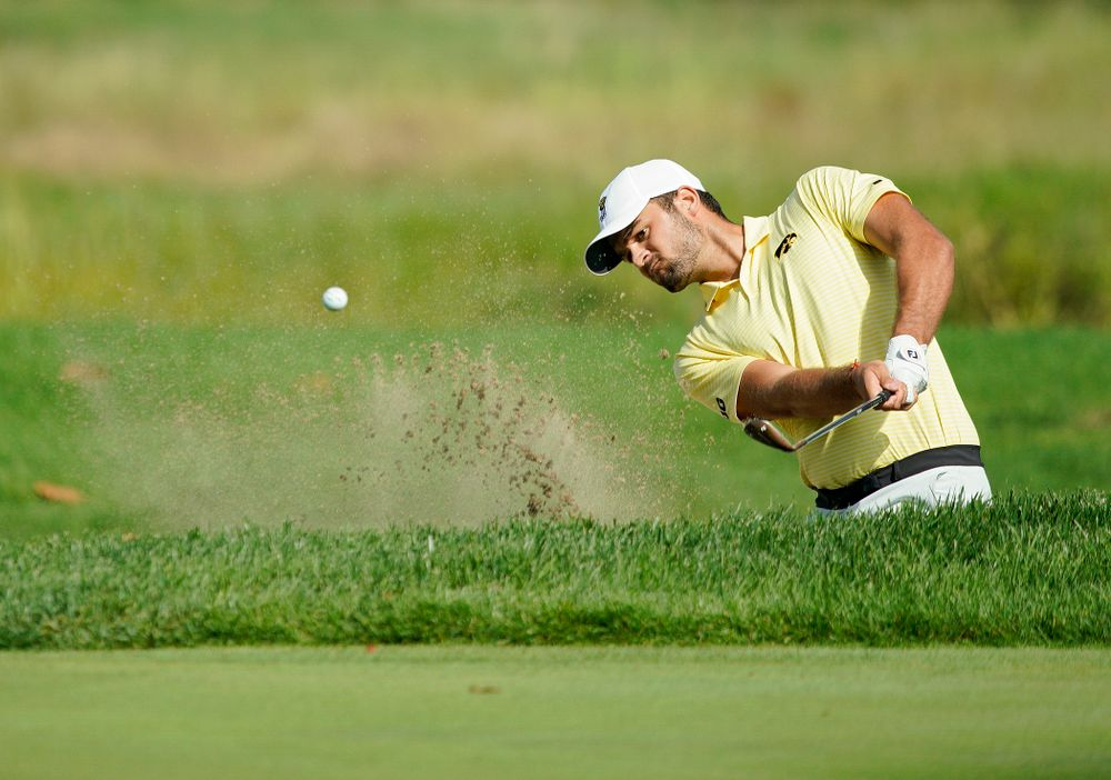 Iowa's Gonzalo Leal hits from a sand trap during the third day of the Golfweek Conference Challenge at the Cedar Rapids Country Club in Cedar Rapids on Tuesday, Sep 17, 2019. (Stephen Mally/hawkeyesports.com)