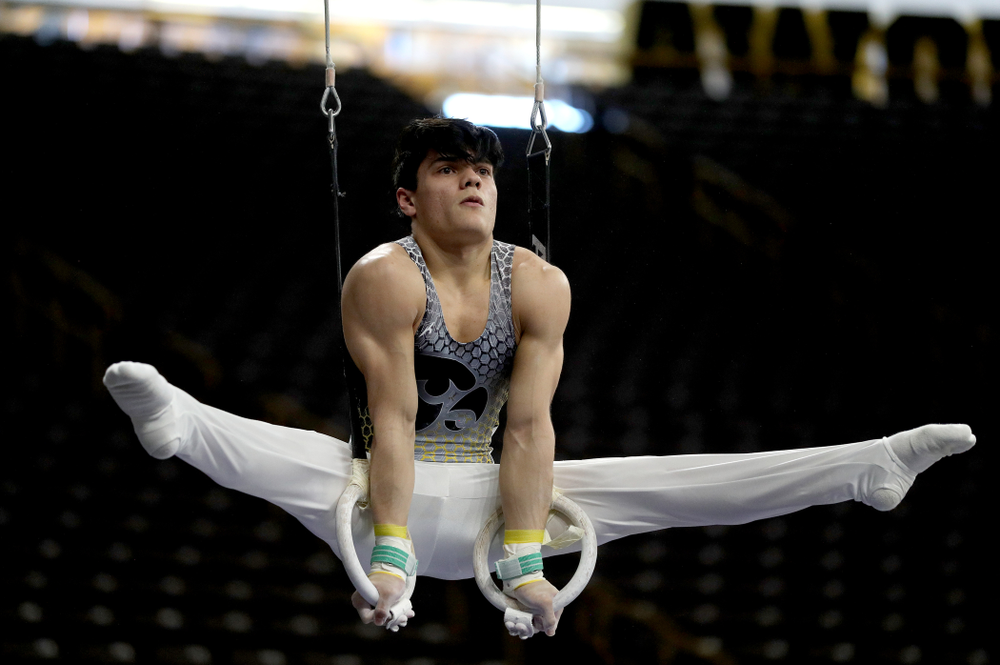 Iowa's Evan Davis competes on the Rings against UIC and Minnesota Saturday, February 1, 2020 at Carver-Hawkeye Arena. (Brian Ray/hawkeyesports.com)