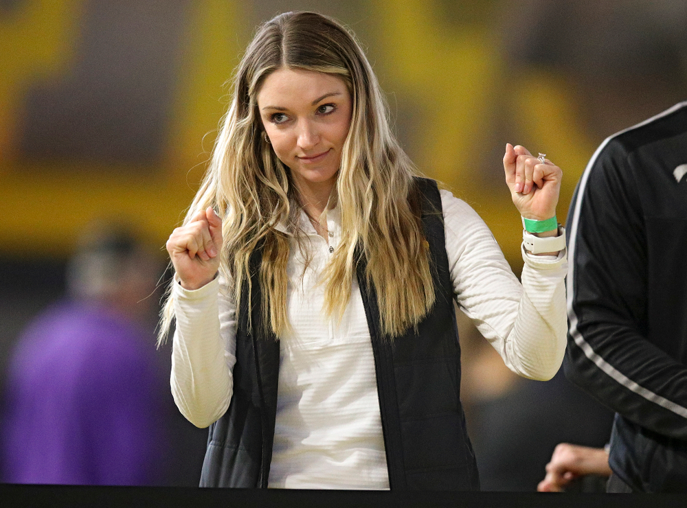 Iowa assistant coach Paige Knodle celebrates during the women's high jump event during the Hawkeye Invitational at the Recreation Building in Iowa City on Saturday, January 11, 2020. (Stephen Mally/hawkeyesports.com)