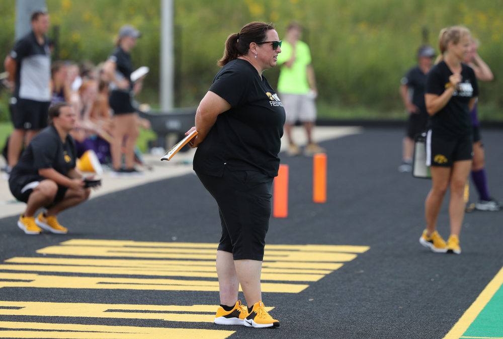 Iowa Hawkeyes head coach Lisa Cellucci during an exhibition game against Northwestern Saturday, August 24, 2019 at Grant Field. (Brian Ray/hawkeyesports.com)