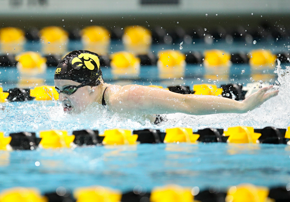 Iowa's Amy Lenderink swims the butterfly section in the women's 400 yard medley relay event during their meet at the Campus Recreation and Wellness Center in Iowa City on Friday, February 7, 2020. (Stephen Mally/hawkeyesports.com)
