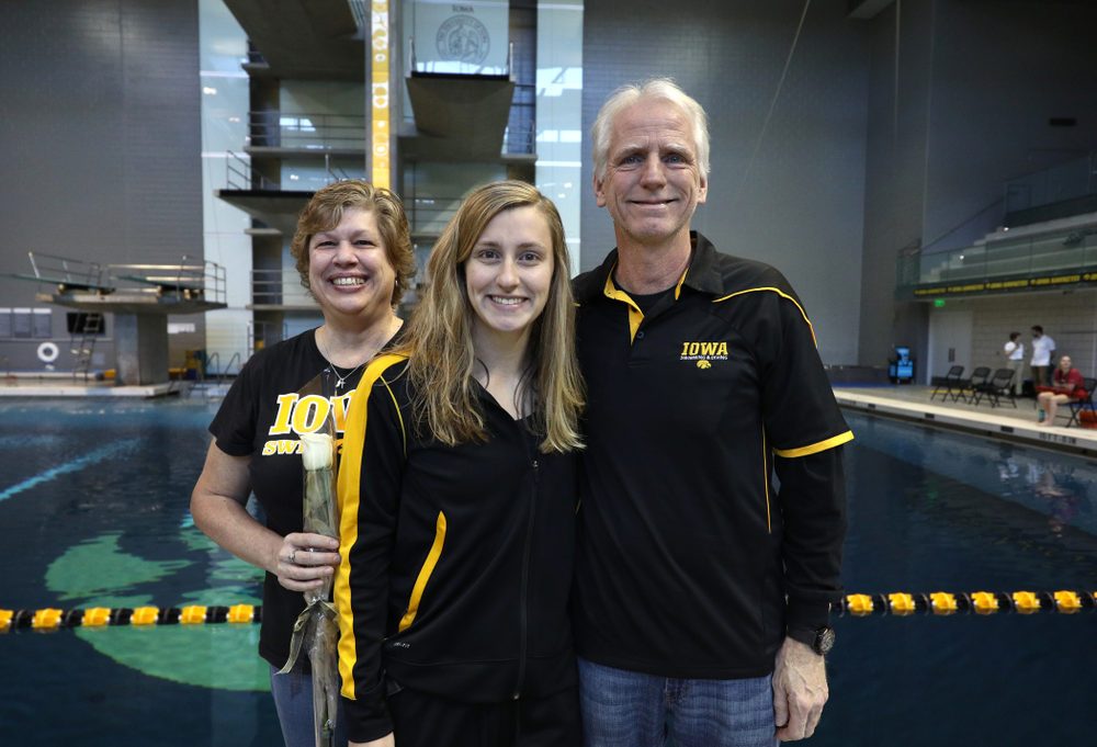 Kelly McNamara is introduced during senior day before a double dual against Wisconsin and Northwestern Saturday, January 19, 2019 at the Campus Recreation and Wellness Center. (Brian Ray/hawkeyesports.com)