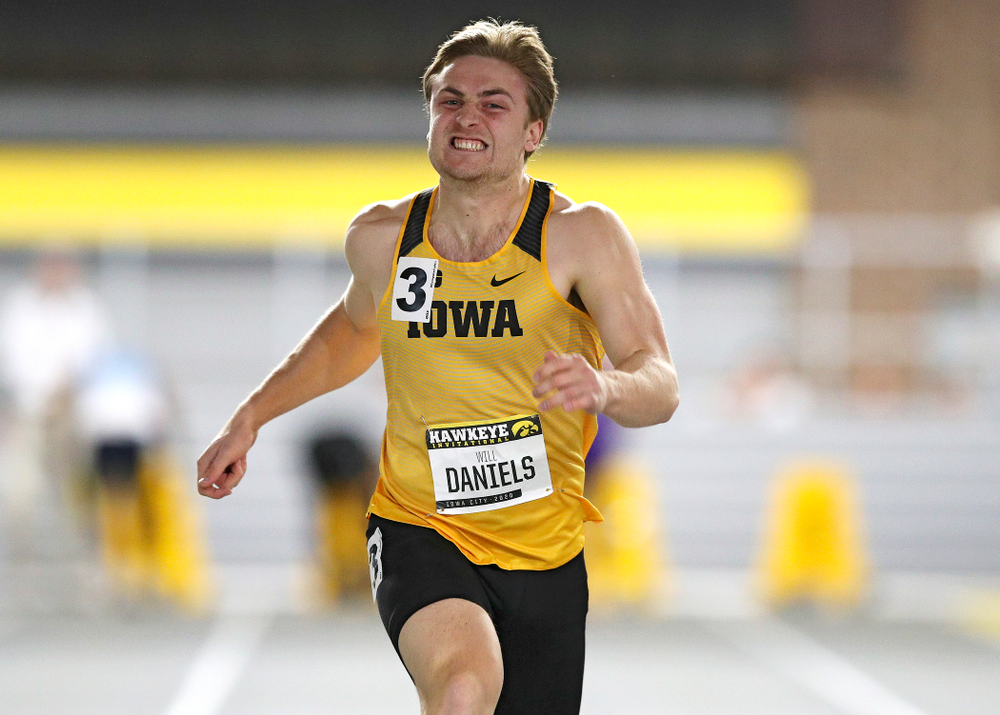 Iowa's Will Daniels runs in the men's 60 meter dash prelim event during the Hawkeye Invitational at the Recreation Building in Iowa City on Saturday, January 11, 2020. (Stephen Mally/hawkeyesports.com)
