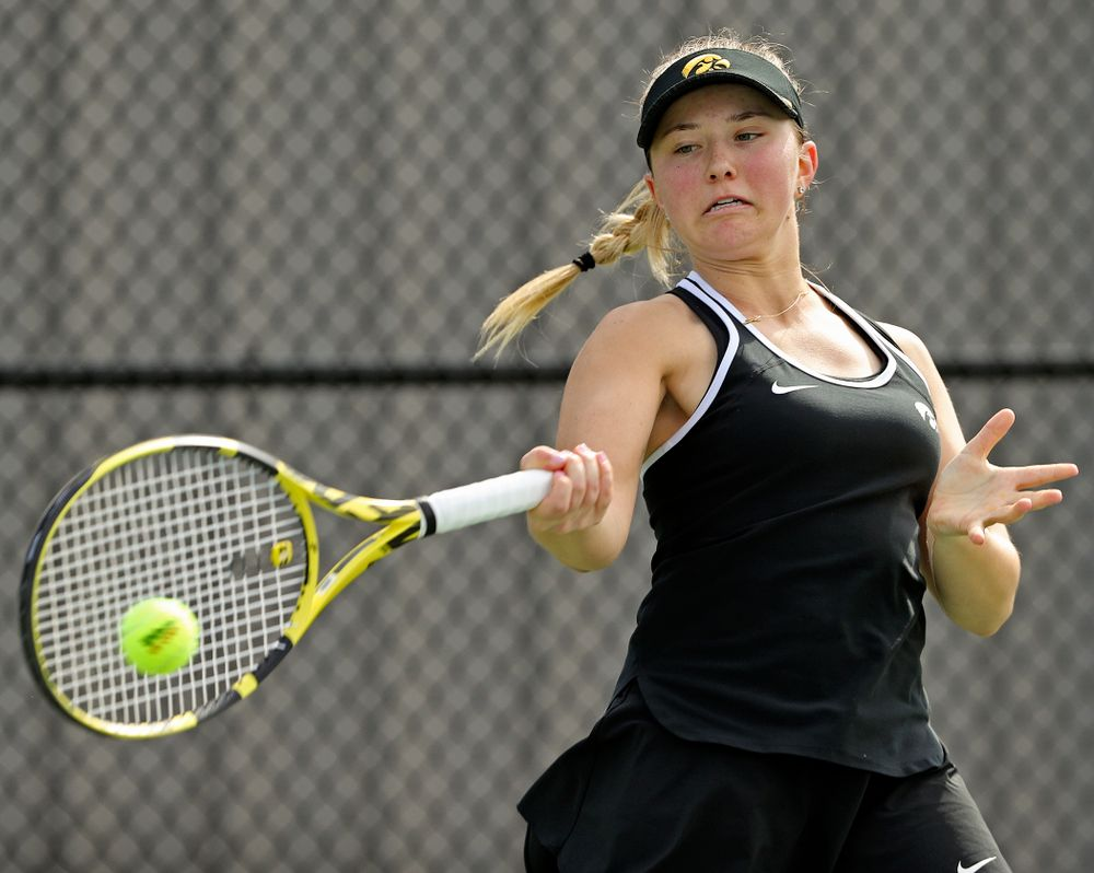 Iowa's Danielle Burich during a match against Rutgers at the Hawkeye Tennis and Recreation Complex in Iowa City on Friday, Apr. 5, 2019. (Stephen Mally/hawkeyesports.com)