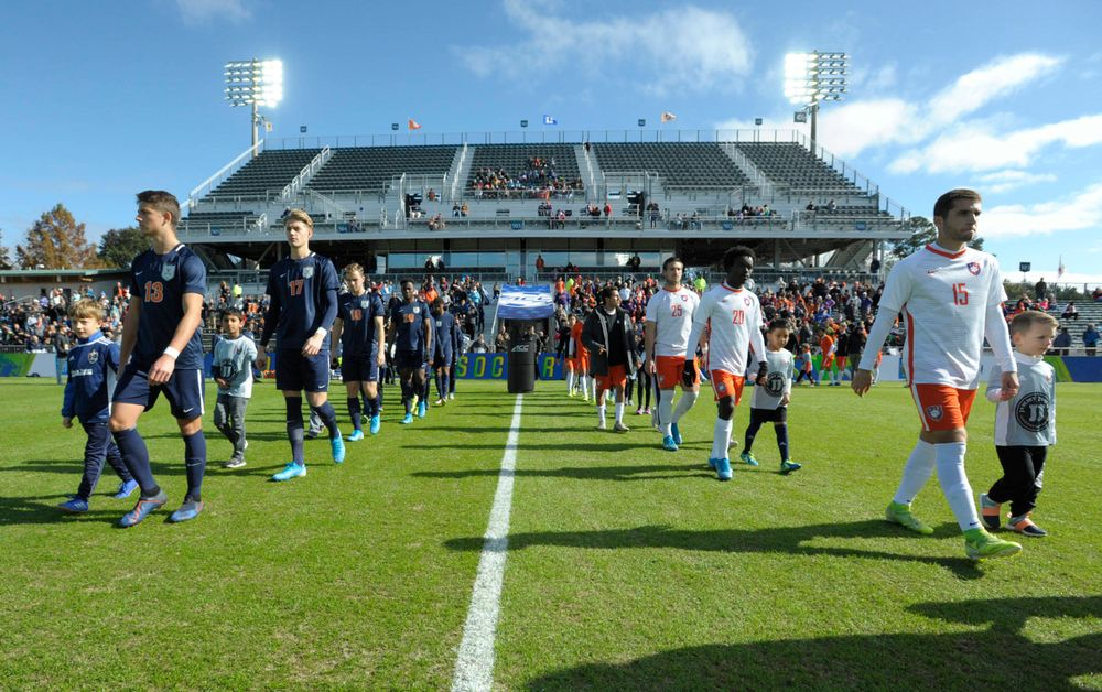 Virginia and Clemson take the field during the 2019 ACC Men?s Soccer Championship at WakeMed Soccer Park in Cary, N.C., Sunday Nov. 17, 2019. (Photo by Sara D. Davis, the ACC)