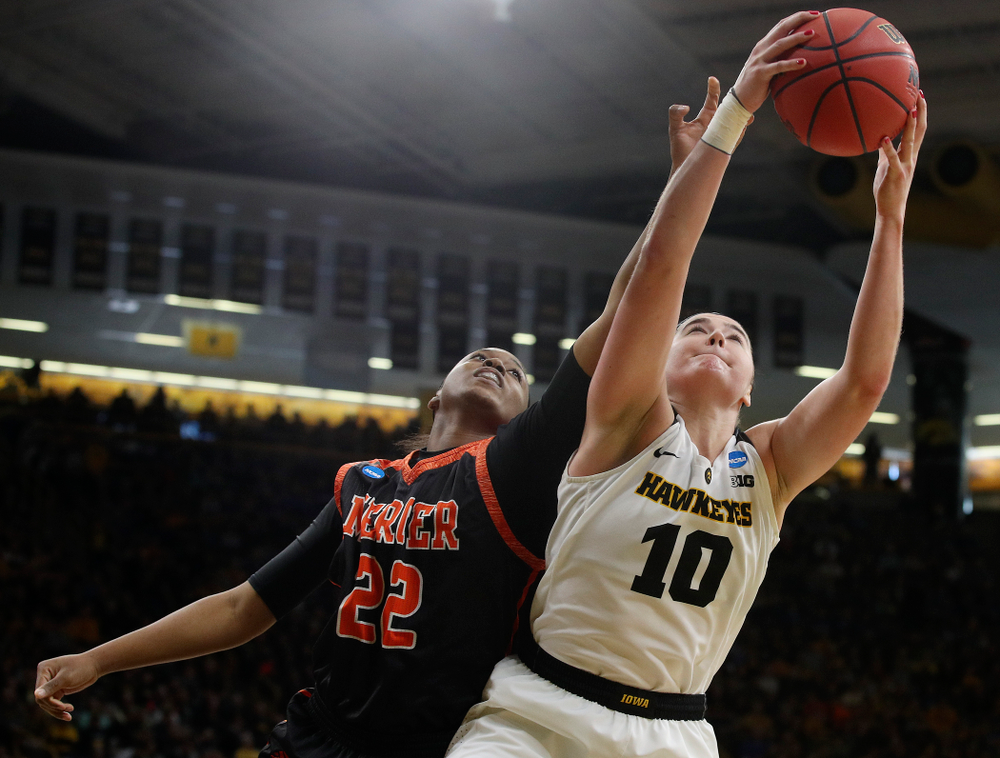 Iowa Hawkeyes forward Megan Gustafson (10) pulls in a rebound during the first round of the 2019 NCAA Women's Basketball Tournament at Carver Hawkeye Arena in Iowa City on Friday, Mar. 22, 2019. (Stephen Mally for hawkeyesports.com)
