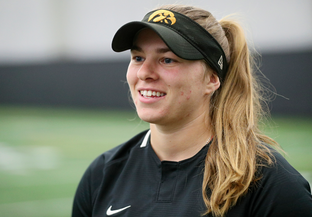 Iowa infielder Sydney Owens (5) answers questions during Iowa Softball Media Day at the Hawkeye Tennis and Recreation Complex in Iowa City on Thursday, January 30, 2020. (Stephen Mally/hawkeyesports.com)