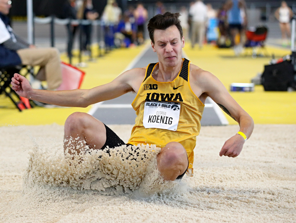 Iowa's Cooper Koenig competes in the men's long jump event at the Black and Gold Invite at the Recreation Building in Iowa City on Saturday, February 1, 2020. (Stephen Mally/hawkeyesports.com)