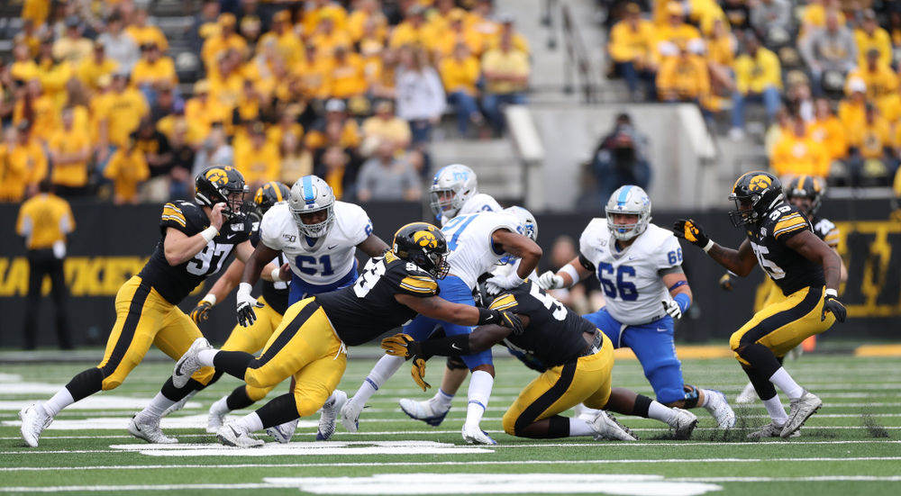 Iowa Hawkeyes defensive lineman Noah Shannon (99) against Middle Tennessee State Saturday, September 28, 2019 at Kinnick Stadium. (Max Allen/hawkeyesports.com)