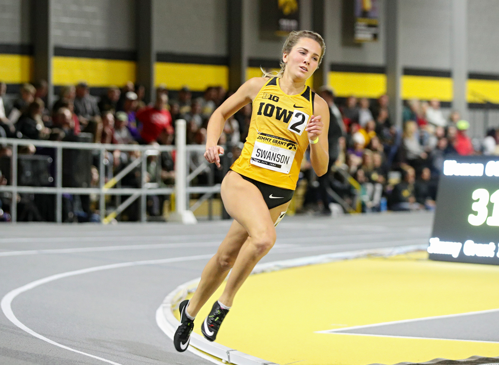 Iowa's Addie Swanson runs the women's 600 meter run event during the Jimmy Grant Invitational at the Recreation Building in Iowa City on Saturday, December 14, 2019. (Stephen Mally/hawkeyesports.com)