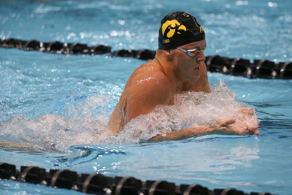 Iowa's Will Myhre swims the 200-yard breastroke during the Iowa swimming and diving meet vs Notre Dame and Illinois on Saturday, January 11, 2020 at the Campus Recreation and Wellness Center. (Lily Smith/hawkeyesports.com)