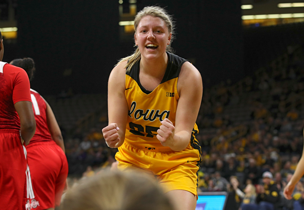 Iowa Hawkeyes forward Monika Czinano (25) is pumped up after guard Makenzie Meyer (3) made a basket while being fouled during the first quarter of their game at Carver-Hawkeye Arena in Iowa City on Thursday, January 23, 2020. (Stephen Mally/hawkeyesports.com)