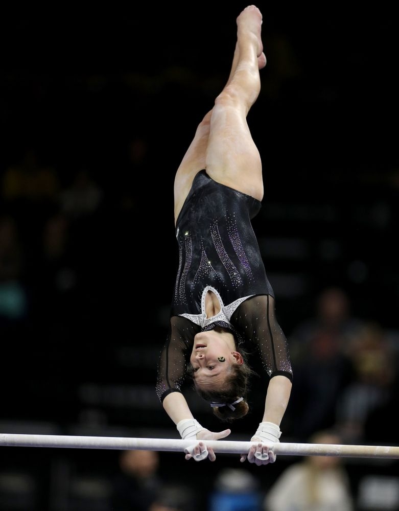 Iowa's Mackenzie Vance competes on the bars against Michigan State Saturday, February 1, 2020 at Carver-Hawkeye Arena. (Brian Ray/hawkeyesports.com)