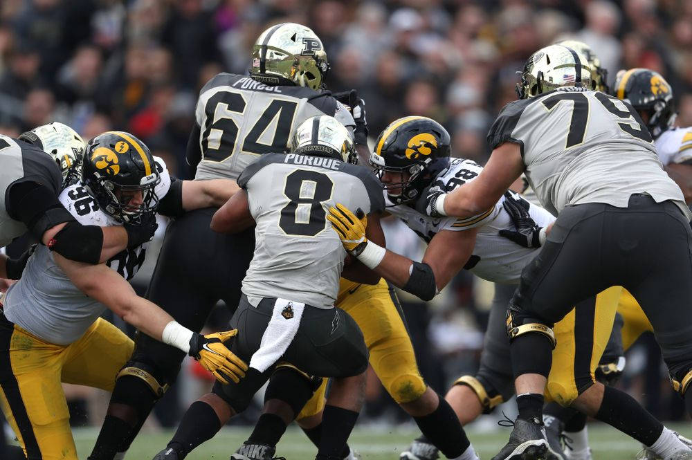 Iowa Hawkeyes defensive end Matt Nelson (96) and defensive end Anthony Nelson (98) against the Purdue Boilermakers Saturday, November 3, 2018 Ross Ade Stadium in West Lafayette, Ind. (Brian Ray/hawkeyesports.com)